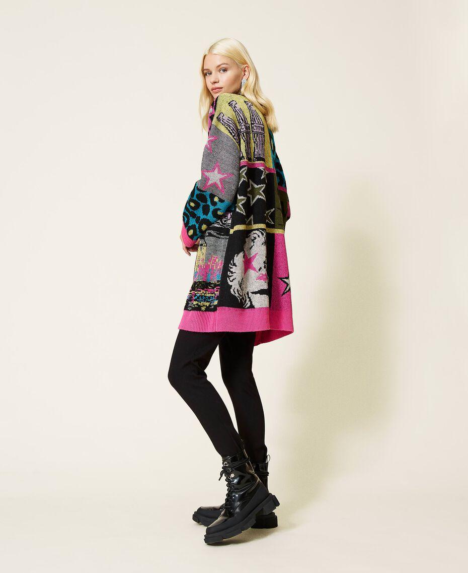 Jacquard wool blend cardigan Purple Berry Picture Jacquard Mix Woman 212AP3132-02