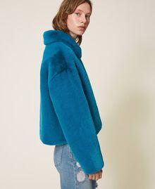 Blouson en fausse fourrure Bleu Baltic Femme 202TP2334-02