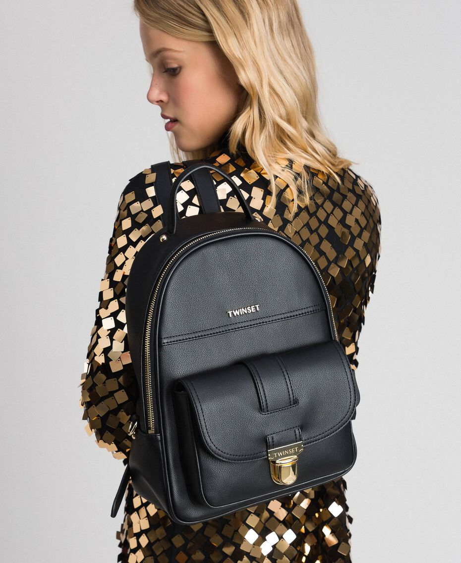 Faux leather backpack Black Woman 192TA7133-0S