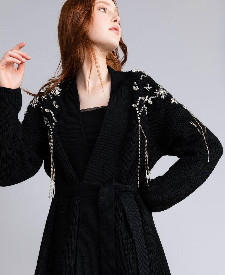 Wool-blend embroidered maxi cardigan Black Woman QA8TJP-01