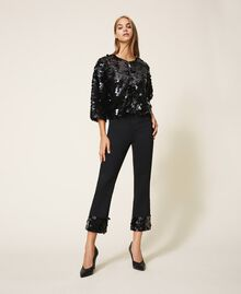 Flared jeans with sequins Black Woman 202MT2124-01