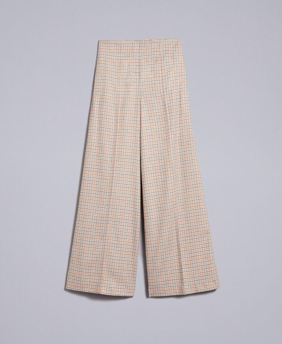 Check flannel palazzo trousers Multicolour Check Woman TA8214-0S