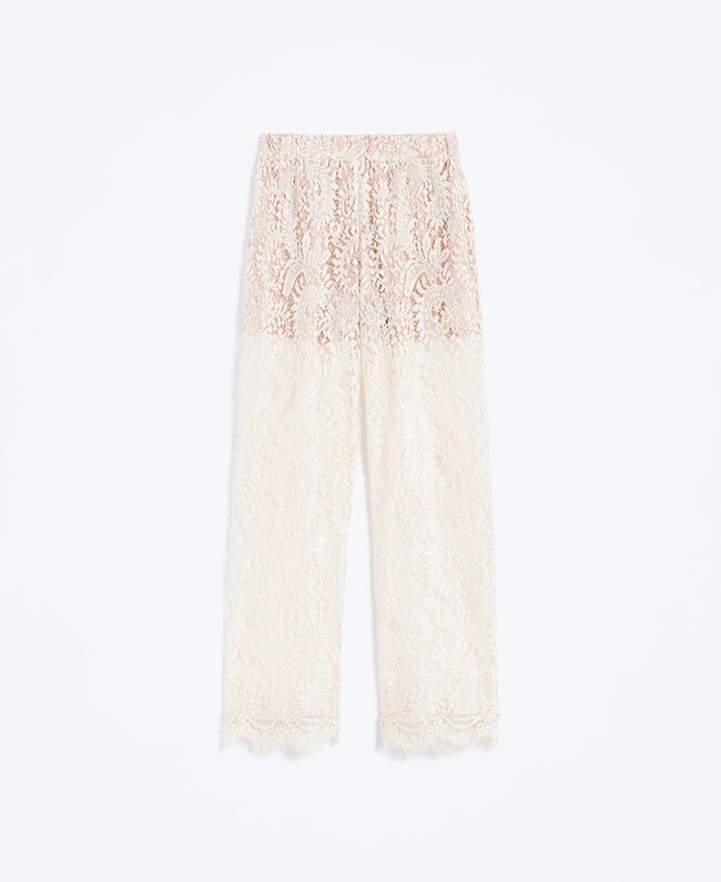 Pantaloni in pizzo smerlato Blanc Donna IA8CRR-01