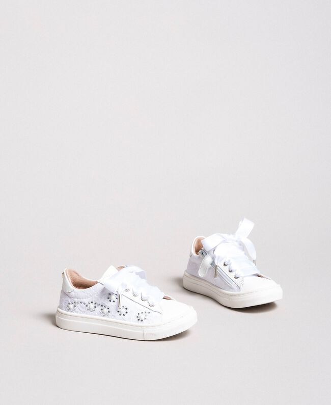 Sneakers with pearls and rhinestones Pale Cream Child 191GCB060-01
