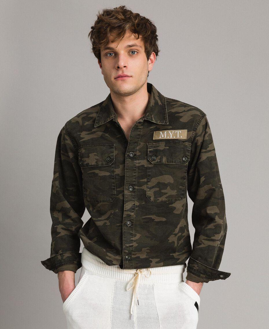 Camouflage print cotton shirt Dark Camouflage Print Man 191UT2020-05