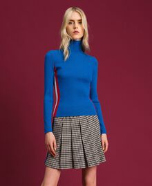 Ribbed turtleneck with colour block bands Curaçao Blue Woman 192MT3010-01