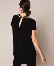 Asymmetric top with embroidery Black Woman 201LB25EE-03