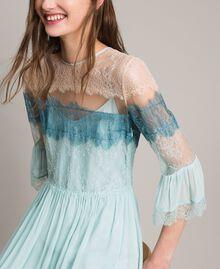 """Robe longue en georgette et dentelle Bicolore Bleu Clair Mikonos / Bleu Clair """"Aigue Marine"""" Femme 191TP2771-05"""