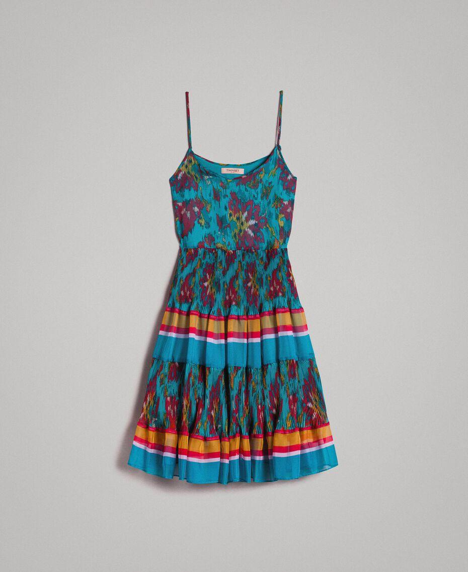 Robe en chiffon à imprimé motif floral Multicolore Chiné / Rayures Bleu Céramique Femme 191TT2364-0S