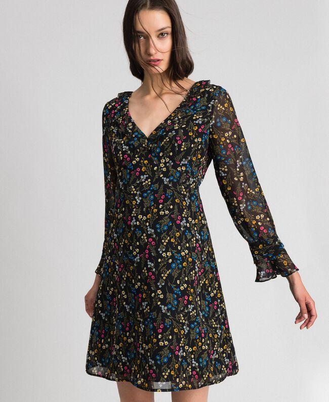 Kleid mit Blumenprint Mikroblumenprint Schwarz Frau 192MP2228-01