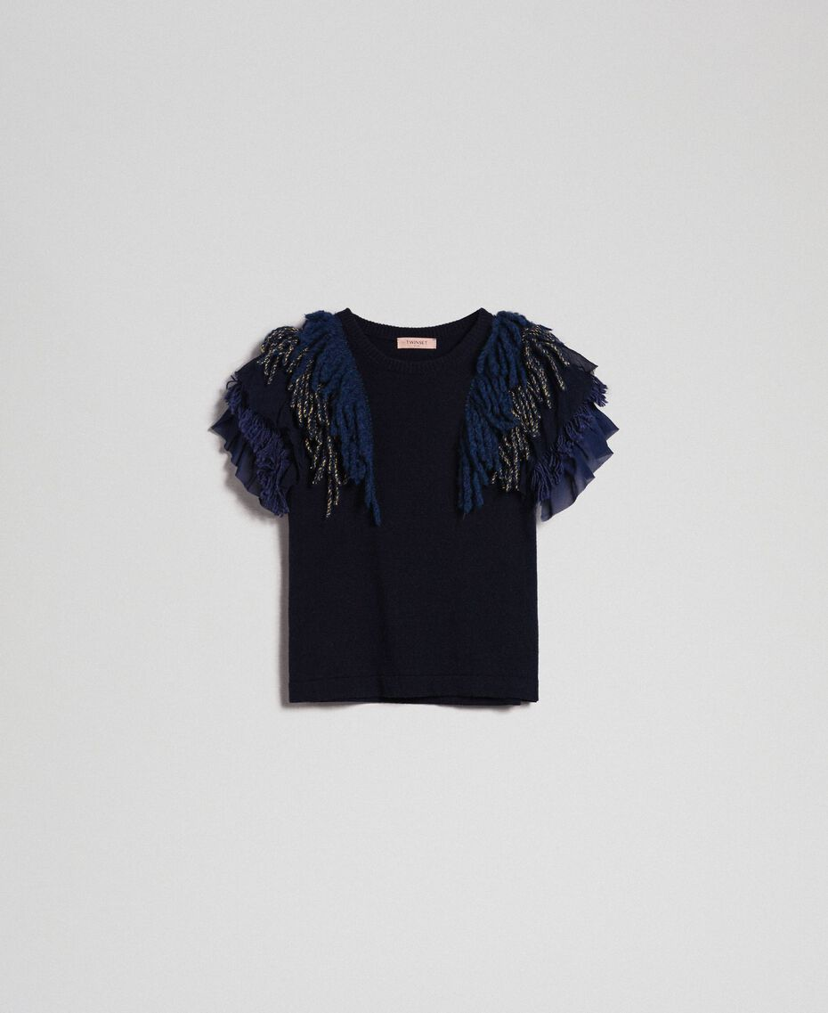 Cashmere blend jumper with fringes Midnight Blue Woman 192TT3300-0S