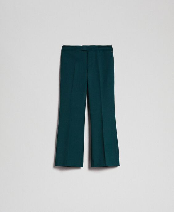 Pantalon évasé en laine