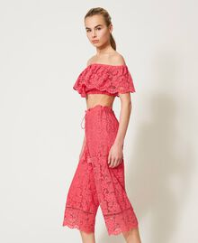 "Macramé lace cropped top ""Cherry Pink"" Woman 211LM2KNN-06"