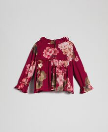 Bluse aus Georgette mit Blumenprint Print Rote-Bete-Rot Geranie Kind 192GB2721-0S