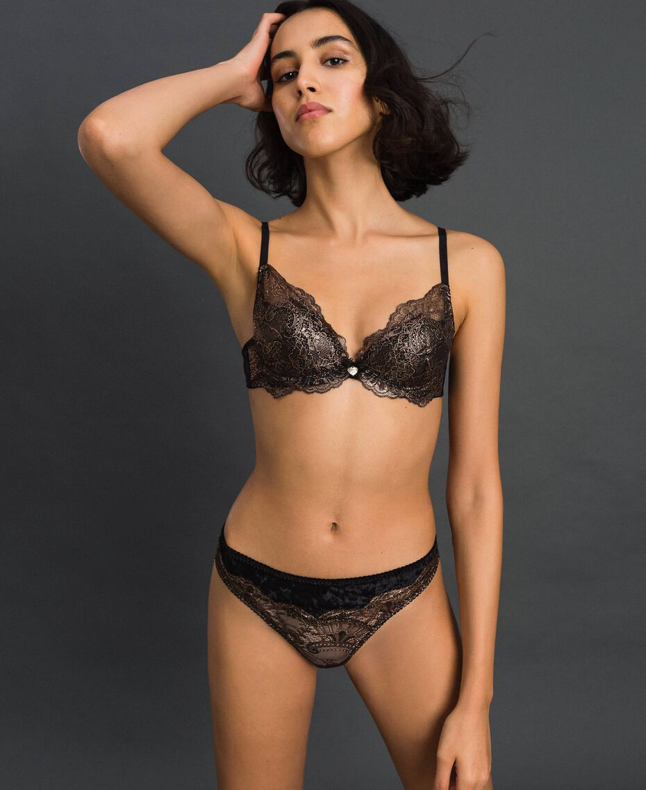 Laminated lace and velvet G-string Bronze Woman 192LL6H88-01