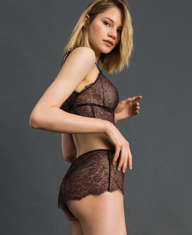 Culotte en dentelle bicolore Noir / Rose «Dolly» Femme 192LI6499-01