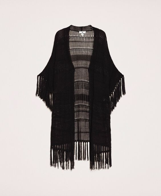 Openwork knitted maxi cardigan