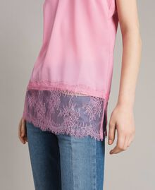Crêpe de Chine top with lace flounces Hydrangea Pink Woman 191MP2452-04