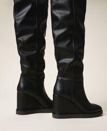 Stivali cuissardes con zeppa Nero Donna 202MCT170-04