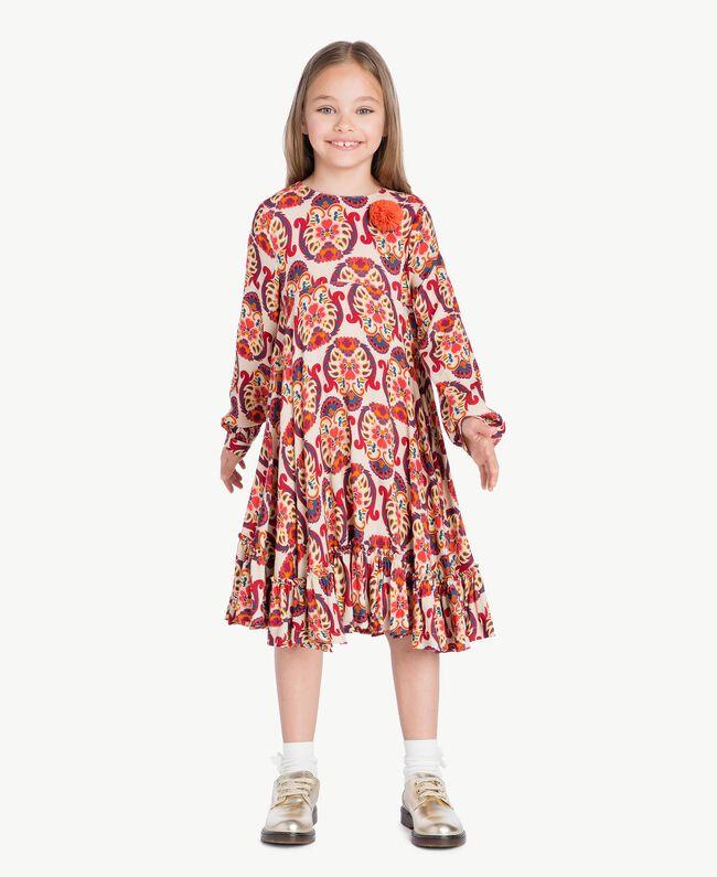 "Kleid mit Print ""Folk Cream""-Print GA7243-01"