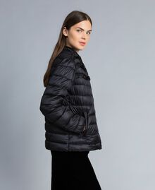 Short shiny nylon padded jacket with ruches Black Woman PA82GS-02