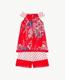 Maxi top et short Imprimé Fleurs / Pois Rouge Grenadier Enfant FS82PA-02
