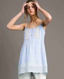 "Voile top with broderie anglaise embroidery Two-tone ""Atmosphere"" Light Blue / Ecru Woman 191ST2110-03"