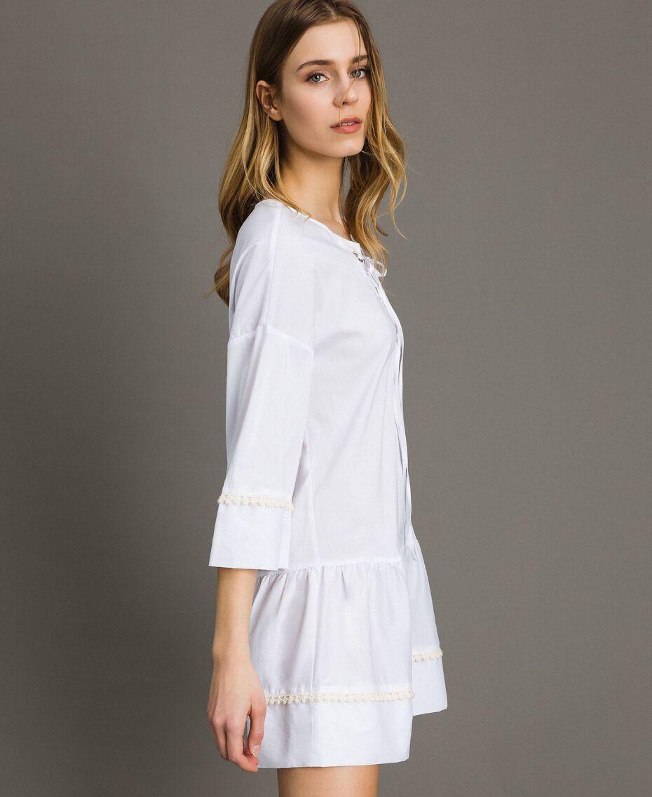 Caftan en popeline Blanc Femme 191LB2JEE-02