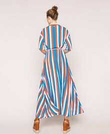 "Long striped shirt dress Multicolour ""Bay"" Blue / ""Choco"" Brown / Optical White Woman 201LM2FBB-03"