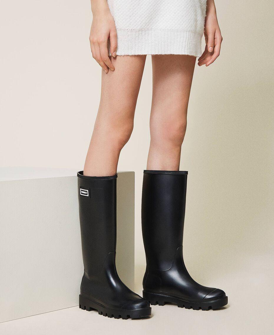 Rain boots with logo Black Woman 202TCP210-0S