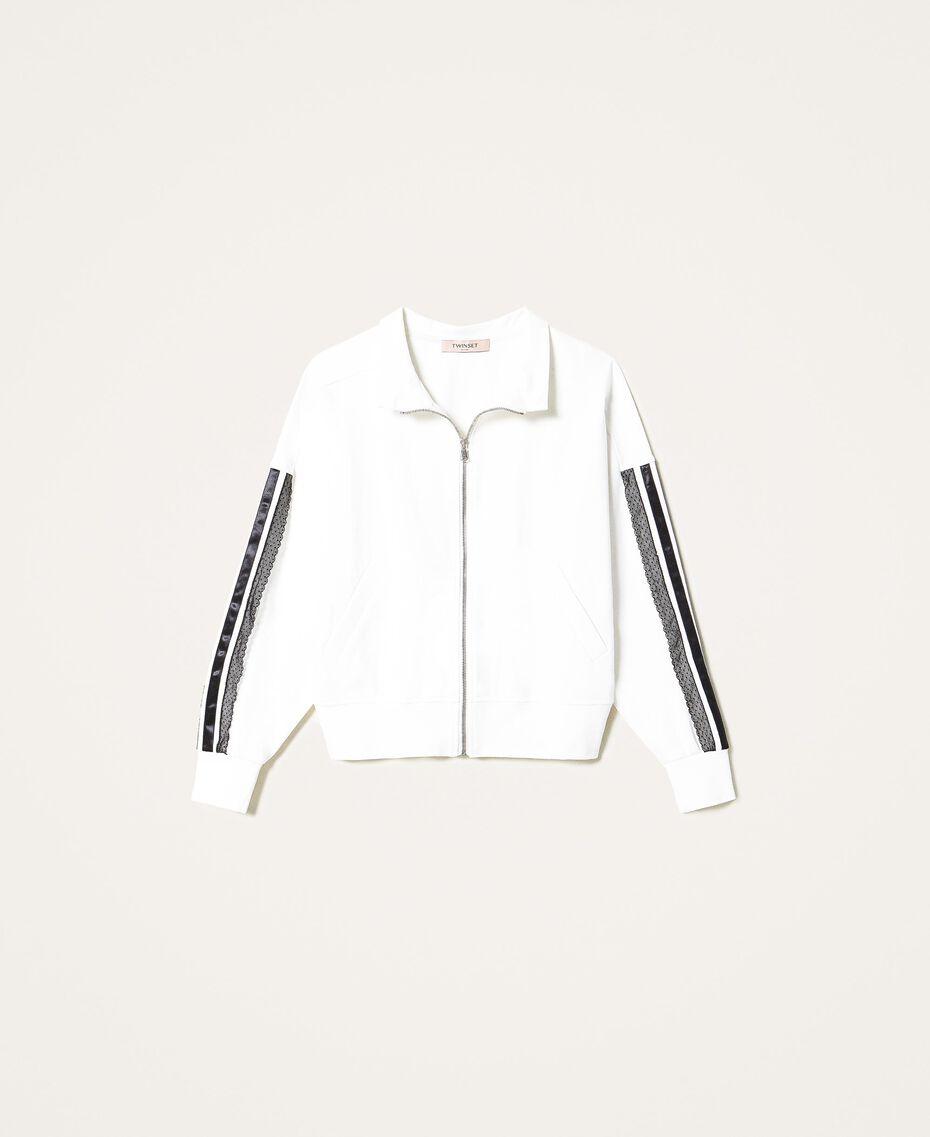 Sweat avec dentelle et satin Blanc Neige Femme 202TP225D-0S