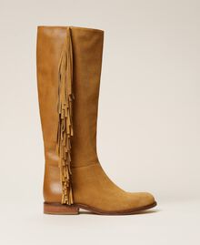 """Leather boots with fringes """"Cigar"""" Beige Woman 212TCP106-01"""