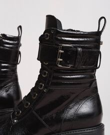 Leather lace-up boots with ankle strap White Snow Woman 191TCP230-05