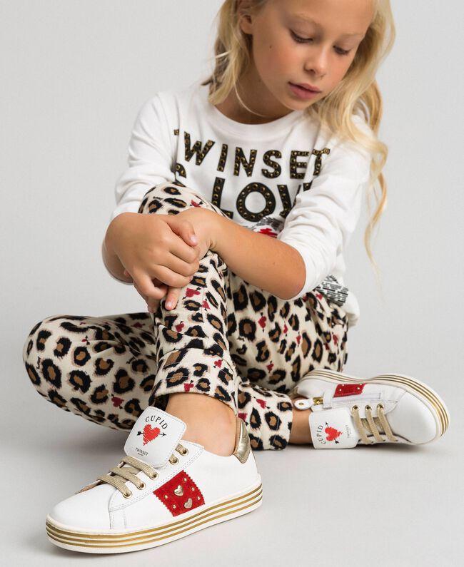Baskets en cuir avec cœurs et clous Blanc Enfant 192GCJ012-0S