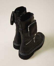 Combat boots with zip and side pocket Black Woman 202MCT122-03