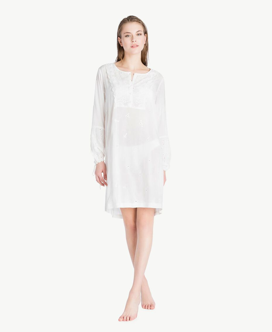 Broderie anglaise nightdress Ivory Woman LS8GBB-02