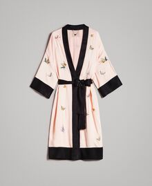 "Satin kimono with butterfly embroidery Two-tone ""Rose Sand"" Pink / Black Woman 191TT2110-0S"