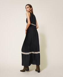 Pleated long dress with lace Black Woman 202TP2133-04