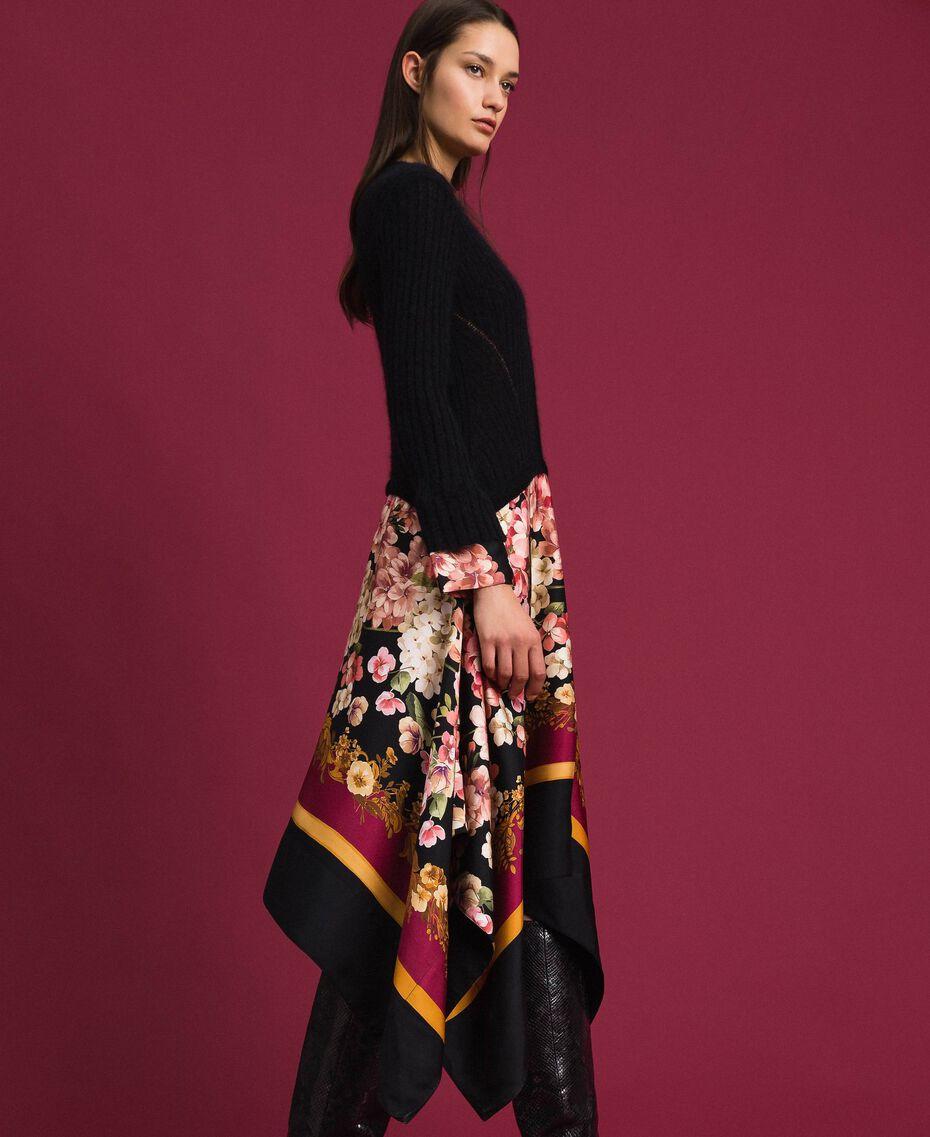 Kleid aus Mohair und bedrucktem Twill Schwarz / Foulardprint Frau 192TP3060-02