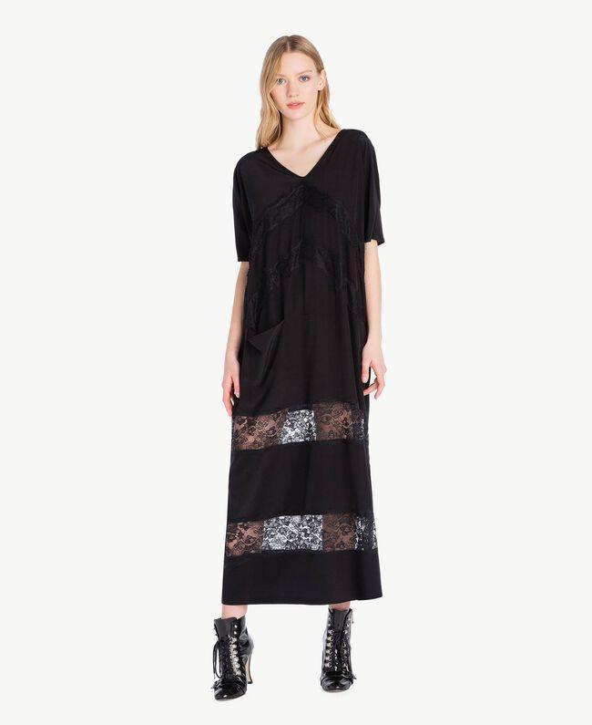 Langes Kleid aus Seide Schwarz Frau PS82Z2-05