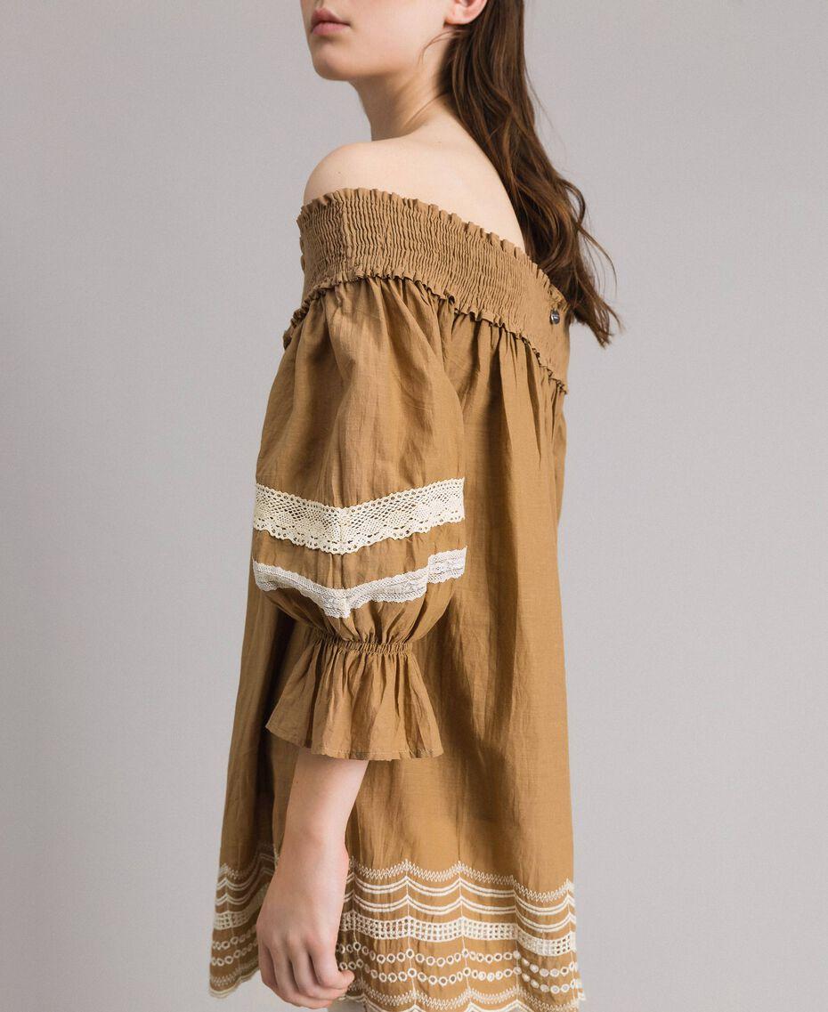 """Voile-Bluse mit Broderie-Anglaise-Stickerei Zweifarbig """"Savannah"""" Beige / Ecru Frau 191ST2111-02"""