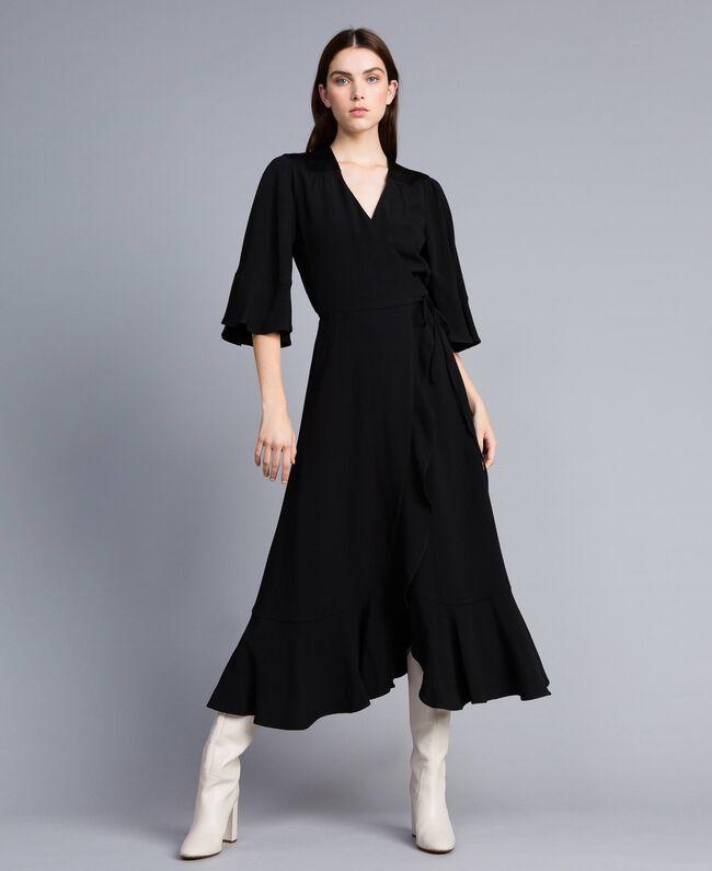 Envers satin mid-length dress Black Woman TA824B-03