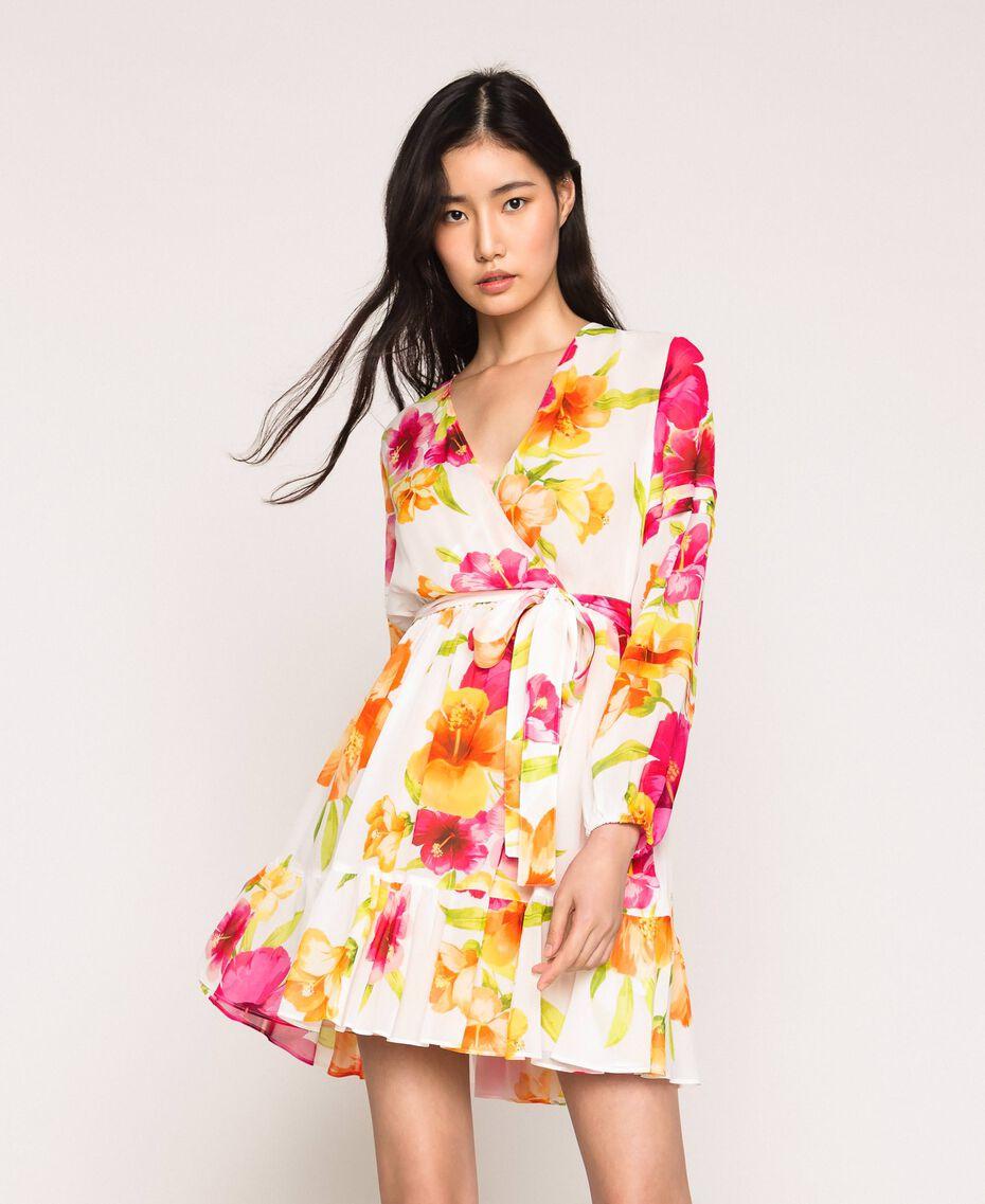 Vestido de georgette de flores Estampado Hibiscus Nieve Mujer 201TT2492-01