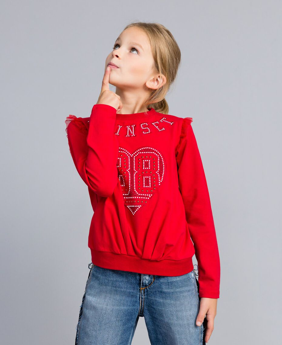 Jersey sweatshirt with pearls and tulle Poppy Red Child GA82U2-0S
