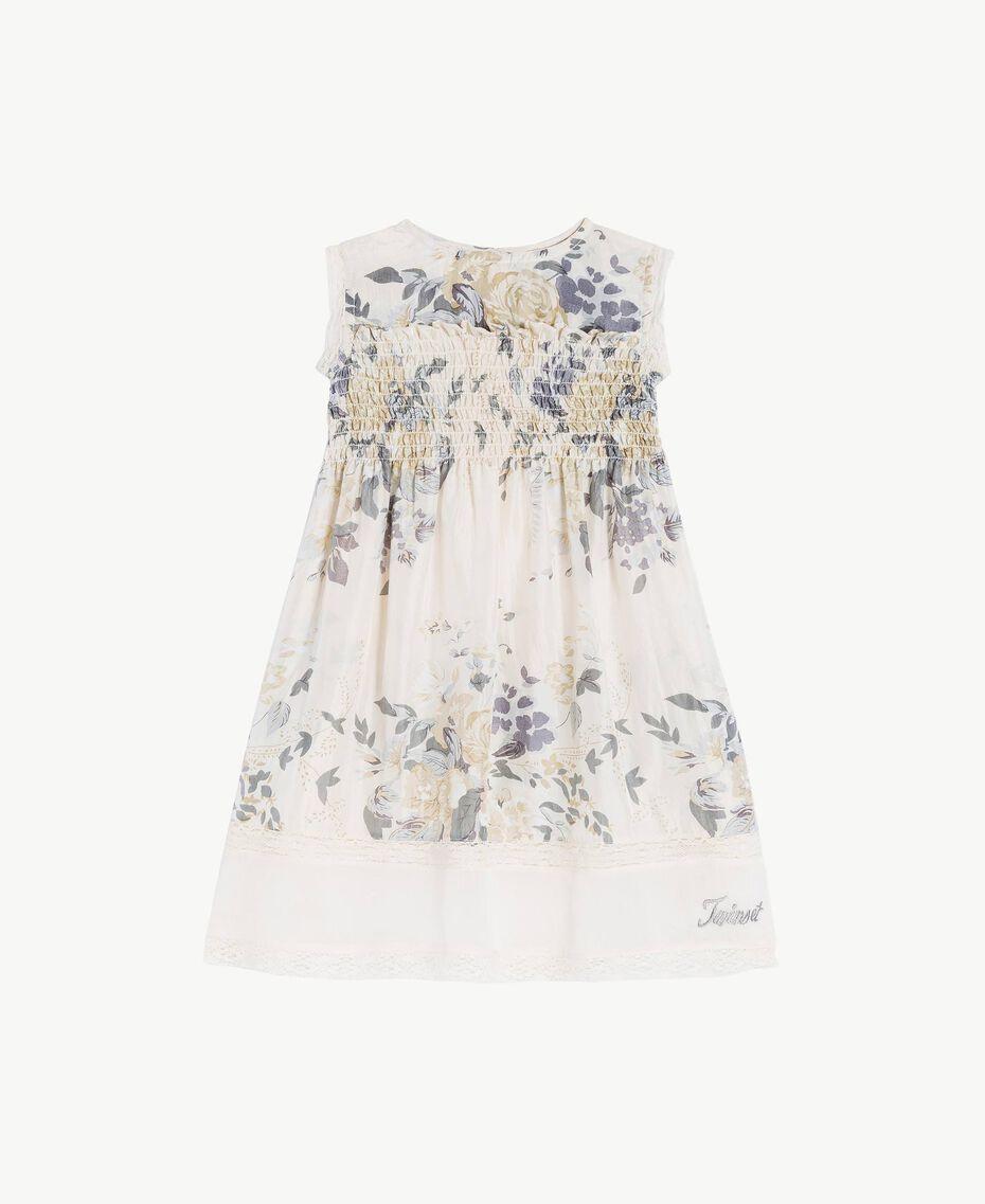 Robe soie Imprimé Fleurs / Gris Mélangé Clair Enfant FS82EN-01