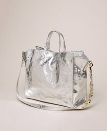 Leather shopper with logo White Snow Woman 201TA7090-03