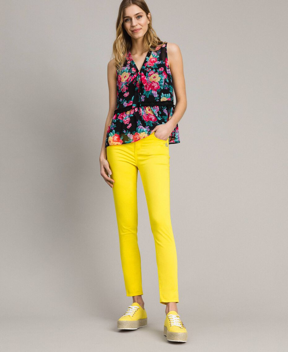Skinny trousers with rhinestone heart Fluorescent Yellow Woman 191MT2446-02
