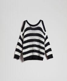 Gestreifter Pullover aus Mohair Streifen Schwarz / Pergamentweiß Frau 192TP3271-0S