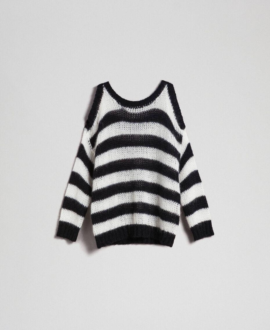 "Striped mohair jumper Black / ""Papyrus"" White Stripe Woman 192TP3271-0S"