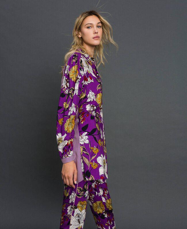 Chemise longue avec imprimé floral Imprimé Fleurs d'Automne Violet Femme 192ST2223-03